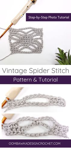 Vintage Spider Stitch Tutorial by Oombawka Design Crochet. Learn how to make this pretty lacy stitch with my step-by-step tutorial. If you were looking for the other spider stitch pattern, I have that one too! I've linked it in the post for you! The stitc Crochet Stitches Patterns, Crochet Designs, Stitch Patterns, Knit Stitches, Knitting Patterns, Beginner Crochet Tutorial, Crochet For Beginners, Magazine Crochet, Crochet Vintage