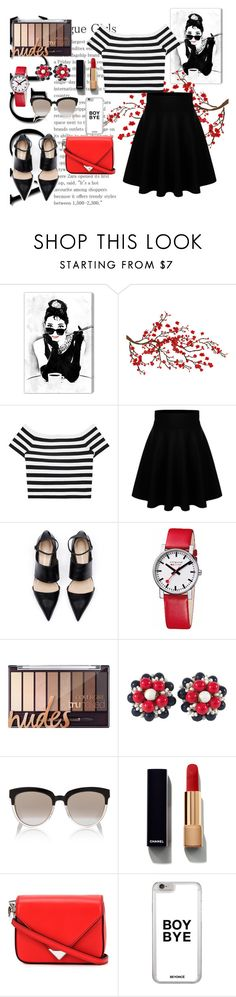 """""""Stiped Shirt"""" by taissasilva ❤ liked on Polyvore featuring Oliver Gal Artist Co., Alice + Olivia, Mondaine, Miriam Haskell, Christian Dior, Chanel, Alexander Wang and stripedshirt"""