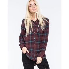 FULL TILT Boyfriend Womens Hooded Flannel Shirt ❤ liked on Polyvore featuring tops, hoodies, hooded plaid shirt, flannel shirts, hooded flannel shirt, purple shirt and purple hoodies