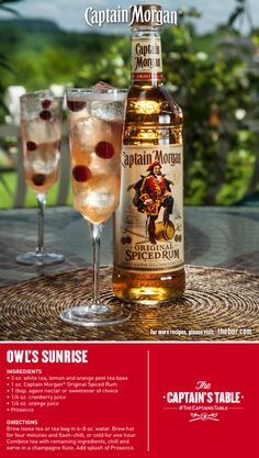 Seize the day with a perfectly chilled spiced tea recipe made with Prosecco. Captain Morgan Owl's Sunrise adds a tasty spin to any par… Bartender Drinks, Bar Drinks, Alcoholic Drinks, Beverages, Rum Recipes, Alcohol Drink Recipes, Captain Morgan Drinks, Tea Cocktails, Happy Hour Drinks