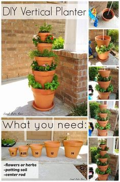 DIY Vertical Planter- great option for an herb garden if low on space! This DIY Vertical Planter is the perfect garden option for those with limited space. Grow your own herbs or flowers in this easy to maintain vertical planter. Garden Web, Tower Garden, Garden Pots, Plant Tower, Planter Garden, Herb Pots, Planter Ideas, Succulents Garden, Planter Pots