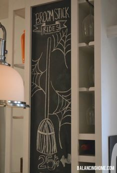 Broomstick Rides Chalkboard Art for Halloween from Balancing Home