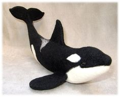 """This is Denise Casey's second attempt at needle felting! She tells us, """"This Orca looks more whimsical in the photos but he is realistic with small details that are often missed or left out. Many ..."""