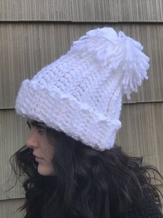 1b548aac54622 Olympic Hat  Snowboard Beanie   Crochet White Pom Pom Chunky Hat  Chunky  Beanie  Pom Pom Hat