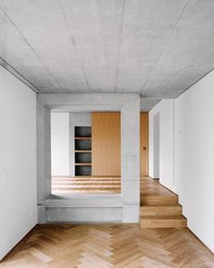 "subtilitas: "" Atelier Abraha Achermann - Renovation and addition of a family house on Landschaustrasse, Luzern Photos © Rasmus Norlander. Architecture Details, Interior Architecture, Interior And Exterior, Interior Design, Tiny Apartments, Empty Room, House Inside, Apartment Interior, Apartment Living"