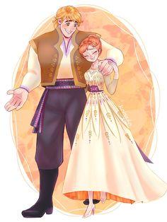 Anna and Kristoff as a romantic couple from Frozen 2 Film Disney, Arte Disney, Disney Couples, Disney Fan Art, Disney Love, Disney Stuff, Frozen Fan Art, Frozen Film, Frozen And Tangled