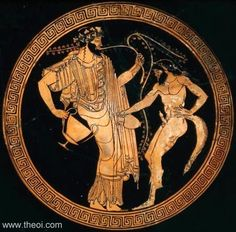 "Drinking cup (kylix) with Dionysos and a satyr. Greek, Late Archaic Period, about B. Interior: Dionysos holding a kantharos and a vine, and a satyr pouring from an oinochoë. At the left the inscription ""The boy is handsome"" (HO PAIS KALOS). Ancient Greek Art, Ancient History, Art History, Ancient Greece, Greek And Roman Mythology, Greek Gods And Goddesses, Greek Pottery, Minoan, Historical Art"