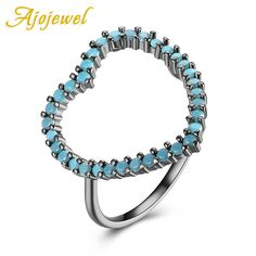 Ajojewel Semi-precious Stone Heart Shaped Antique Rings For Women Brass Jewelry Fashion Bague Femme 2017 #Affiliate