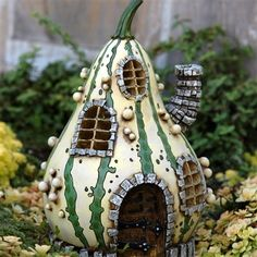 Striped Gourd Fairy Home for Your Miniature Fairy Garden by Fiddlehead | eBay