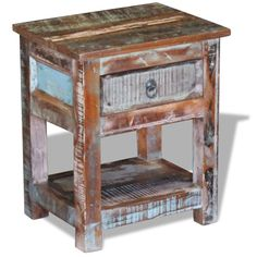 Distressed Side Table with 1 Drawer