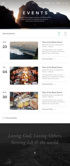 Risen Events List View by Michael Sevilla via Dribble