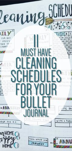 Bullet Journal Cleaning Schedules - 11 Must Have Cleaning Schedules for your Bullet Journal - Bullet Journal Ideas for Tracking Cleaning - Clean House Schedule, Bullet Journal Layouts, Bujo Ideas Deep Cleaning Tips, Cleaning Checklist, House Cleaning Tips, Cleaning Hacks, Cleaning Schedules, Cleaning Lists, Speed Cleaning, Weekly Cleaning, Spring Cleaning