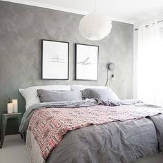 white and gray bedroom, gray wall