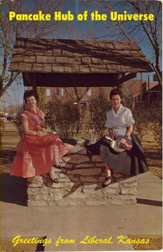 """PANCAKE HUB OF THE UNIVERSEGreetings from Liberal, Kansas Today is Shrove Tuesday, aka PANCAKE DAY. Verso:""""Two attractive housewives of Liberal, Kansas, 'Pancake Hub of the Universe' prepare to run the 415 yard course which starts at the well and ends at a church which is the similar course run by the women of Olney, England. Each year on Shrove Tuesday the women of these two cities race, via stopwatch, in an International contest."""" As you can see, preparation for the race is ..."""