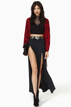 Reverse Bordello Velvet Fringe Kimono