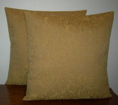 Gold Floral Throw Pillow Covers by BeachDawn on Etsy, $10.00