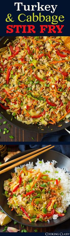 Turkey and Cabbage Stir Fry (aka Egg Roll Skillet) - quick and delicious! Turkey and Cabbage Stir Fry (aka Egg Roll Skillet) - quick and delicious! Cabbage Recipes, Chicken Recipes, Meatball Recipes, Asian Recipes, Healthy Recipes, Chinese Recipes, Healthy Meals, Cabbage Stir Fry, Cabbage Fried Rice