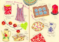 """From yoshie's travel diary , """"yoshie's favorite goods in British House""""  Pen, colour pencil on paper 2009"""
