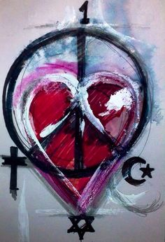 "'Love Is Everything.' Mixed Media On Card. 6x4""Inch. #RosannaJacksonWright #Art #Drawing #God #Peace #Abstract #Figurative #York #England #NYC #USA #Genoa #Italy #Mexico #Philippines #Kingston #Jamaica #Bronx #Harlem"