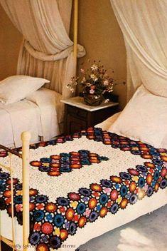 Items similar to Vintage Crochet Pattern 254 PDF Afghan Blanket from WonkyZebra on Etsy Crochet Bedspread, Crochet Quilt, Crochet Squares, Crochet Granny, Crochet Blanket Patterns, Crochet Motif, Crochet Blankets, Granny Squares, Crochet Designs