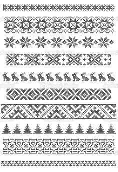 Knit fair isle pattern, good for borders, chart