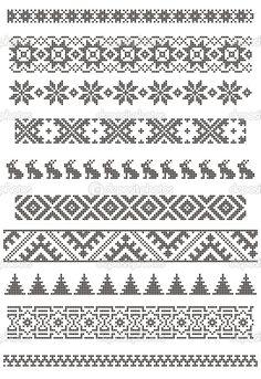 Knit fair isle pattern, good for borders, chart