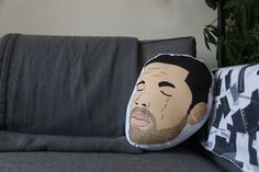 cotton pillow with digital print of Aubrey (Drake) Graham. about 13 x 10 handmade in Brooklyn, NY
