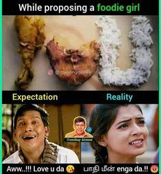 Tamil Jokes, Tamil Funny Memes, Tamil Comedy Memes, Funny Comedy, Film Quotes, Funny Quotes, Vadivelu Memes, Girly Attitude Quotes, Psychology Facts