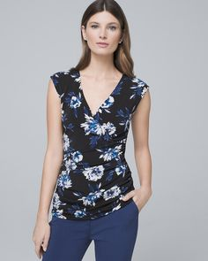 Floral-Print Shirred Bodice Tank