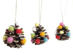 Rustic Christmas Ornaments, Pine Cone Xmas Ornaments, Natural Eco-friendly Eco Friendly, Rainbow, Colorful, Wool Felt Needle Felted - 3