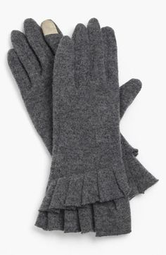 Nordstrom Ruffle Tech Gloves | #Nordstrom  Tiered ruffles form the cuffs of cozy wool-blend gloves designed with tech-compatible fingertips for touch-screen use.