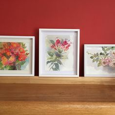 """11 Me gusta, 1 comentarios - Erika Brandner (@ekadeko) en Instagram: """"Cuadros de fucsias y rosas #flores #watercolor #acuarela"""""""