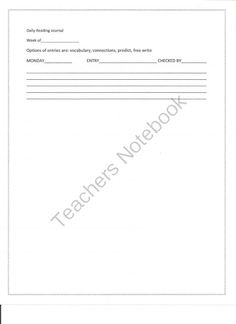 Reading Journal from Learning_Links on TeachersNotebook.com -  (1 page)  - This Reading Journal incorporates writing, vocabulary, and connections.