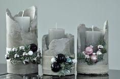 Betonowe świeczniki Bożonarodzeniowe