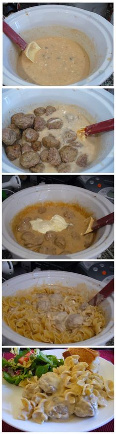 Meatball Stroganoff in a Crockpot Ingredients: 1-lb. bag frozen meatballs 1 can cream of mushroom soup 1 can beef broth (or use a beef bouillon cube and enough water as called for to make about 2 c...