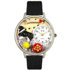 Whimsical Unisex Border Collie Black Skin Leather Watch