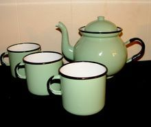 Vintage Poland Green Enamelware Teapot and 3 Cups