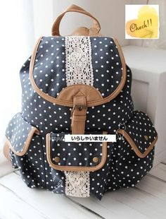 polka Dot Lace Pocket Backpack School Campus Outdoor Rucksack | eBay