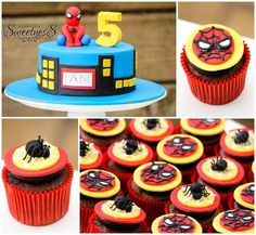 Celebrate a boy's birthday party with these amazing Spiderman cake and cupcakes…