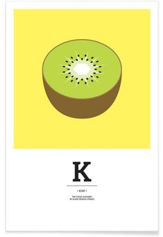 """The Food Alphabet"" - K like Kiwi as Premium Poster by BLAEK Design Studio 