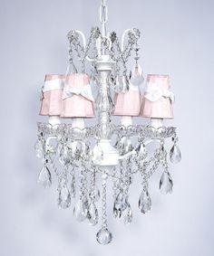 Chandelier 4 Light Crystal Glass Center White