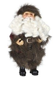Old World Father Christmas Woodland Santa Claus in Burgundy Fur Suit Figure