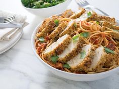 Get Parmesan Chicken Linguini with Sunday Gravy Recipe from Food Network. Leave out Parmesan. Food Network Recipes, Food Processor Recipes, Cooking Recipes, Pasta Recipes, Meal Recipes, Turkey Recipes, Parmesan, Trisha's Southern Kitchen, Country Kitchen