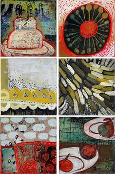 "Barbara Gilhooly  #84(s), 90, 85, 100, 99(n/a), 98 (sold individually)    6"" x 6"" each, acrylic, carving on panel. Work available for purchase at Circa Gallery. www.circagallery.org"