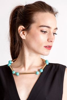 The Bonbon necklace made of warm turquoise (gold edition) and cold brass, which was hand-cut and galvanized. Turquoise Necklace, Gold Necklace, The Clash, Necklace Designs, Statement Jewelry, Handmade Necklaces, Your Style, Chokers, Brass