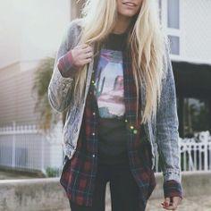 + #plaid #acidwash #jeans #tee