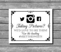 Social Media Hashtag Wedding Sign DIY by SasafrasPrintables