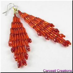 Bugle Girl Dangling Chandelier Beaded Earrings TAGS - Jewelry, Earrings, Beaded, carosell creations, glass, seed beads, pierced, accessories, dangle, chandelier, weaved, woven, czech, fire polished, red, bugle, class, bride, bridal, wedding, holiday gift idea, belly dance, gypsy, ladies, hot, sexy, loom, brick stitch, women, native american indian, southwestern