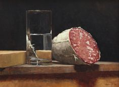 Sarah Lamb, Still Life of Salami, Oil on panel, 12 x 16