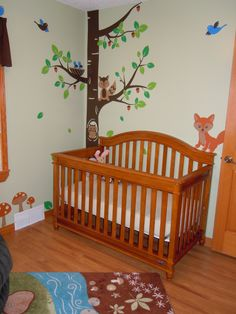 Woodland/forest Animals Nursery Rug-IKEA Wall Decals- Artfire.com-Smileywalls Crib- Baby Europa Palisades from Babies R US
